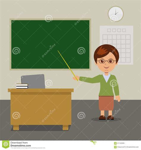 lehrer an der tafel der lehrer steht an der tafel in der klasse vektor