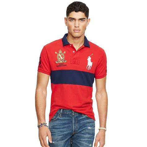 Polo Shirt Polo Raphl Custom Tshirt Polo lyst polo ralph custom fit big pony polo shirt in blue for