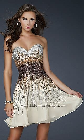 homecoming new year strapless sequin dress by la femme homecoming new