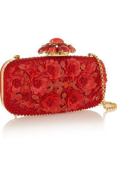Oscar De La Renta Satin Clutch by Oscar De La Renta Embellished Silk Satin Box Clutch