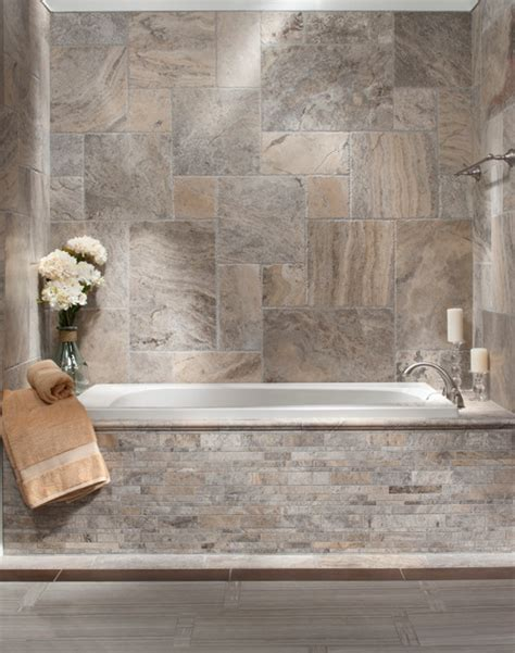 brushed travertine bath traditional bathroom by