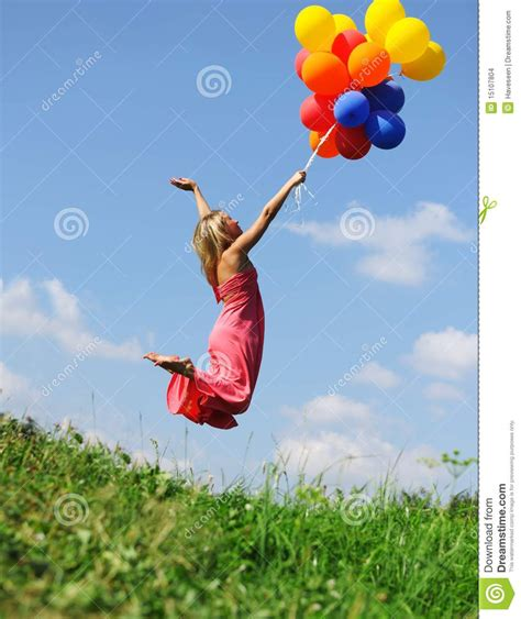 flying with a flying with balloons stock images image 15107804