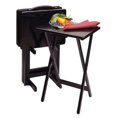 tv tray tables target 5 wood tv tray set black winsome 174 target