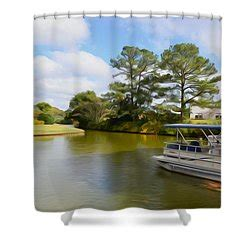pontoon boat shower pontoon boat ride on the lake painting by lanjee chee
