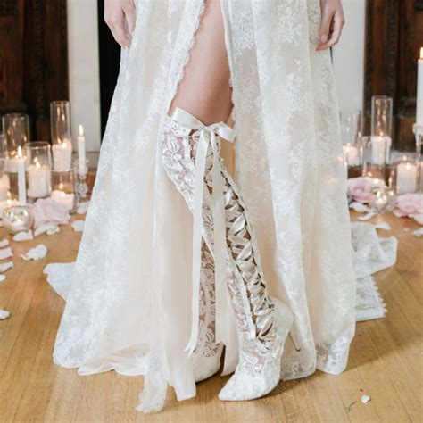 the knee ivory lace wedding boots house of elliot