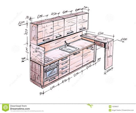 Kitchen Cabinets For Less by Modern Interior Design Kitchen Freehand Drawing Royalty