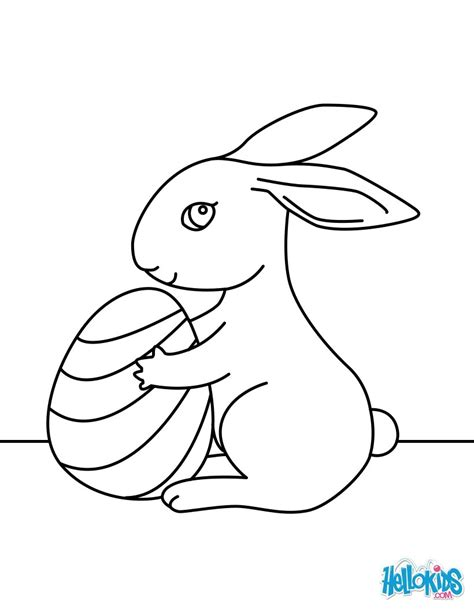 Cute easter bunny coloring pages   Hellokids.com