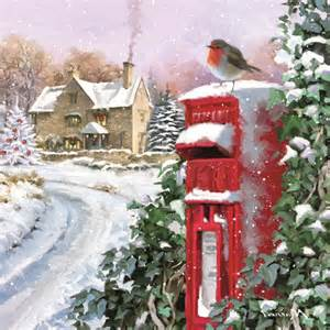 snowy postbox charity christmas card pack