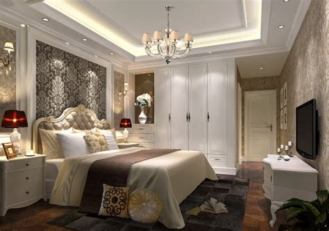 elegant bedroom rendering night of elegant bedroom with white wardrobe