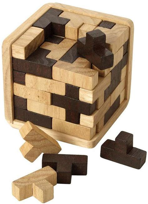Toy1255 Puzzle Block Packing t cube bicolor cast puzzle wooden puzzle