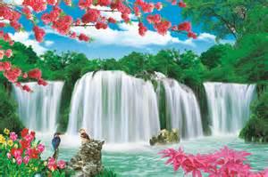 3d Wall Murals beautiful natural waterfall landscape art painting display