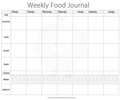 printable food journal importance of keeping a food diary free printout food