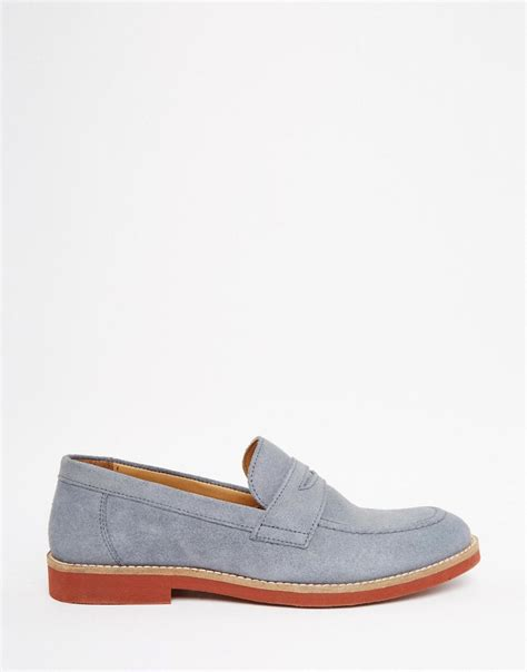 asos mens loafers asos loafers in blue suede in blue for lyst
