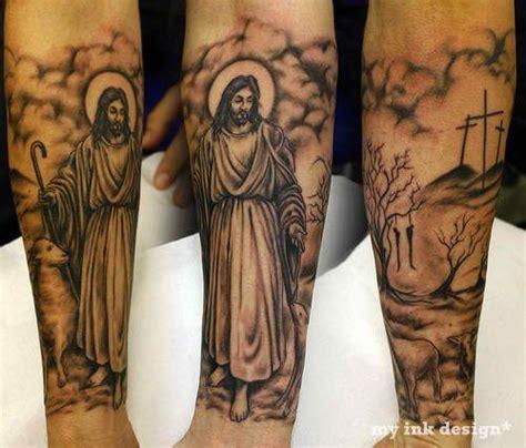 jesus tattoo sleeve ideas nice religious half sleeve luke s tattoo ideas