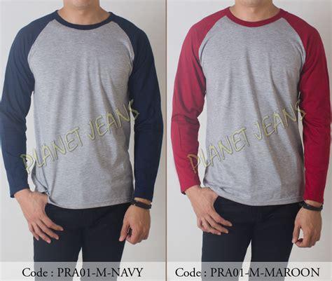 Baju Kaos Lengan Panjang Assc Premium jual baju kaos polos lengan panjang raglan premium warna abu navy pra wahana sakti store