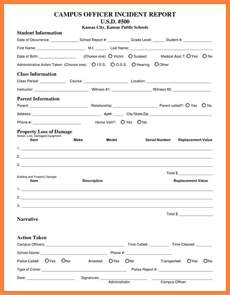 11 security incident report form template progress report