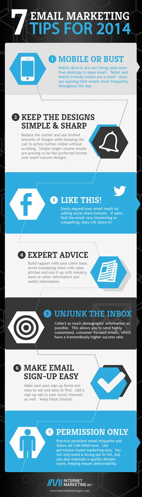 Email Marketing 1 by 7 Email Marketing Tips For 2014 Infographic