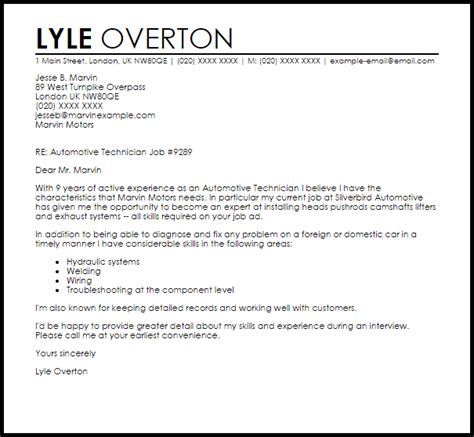 automotive technician cover letter sle livecareer