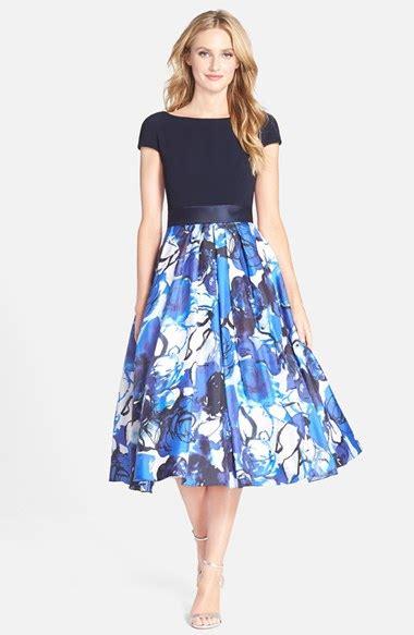 Mididress Flare Blue theia floral print fit flare midi dress in blue lyst
