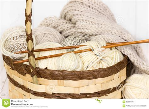 knitting with two colors carrying yarn knitting of woolen yarn royalty free stock image