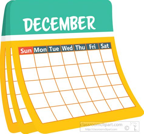 calendar clipart calendar clipart monthly calender december clipart 6227