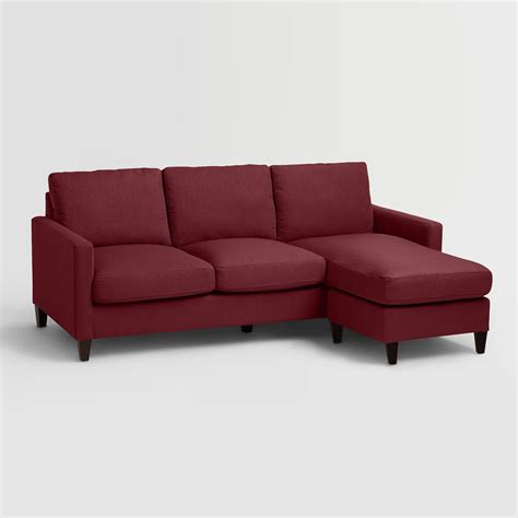berry red textured woven abbott sofa world market