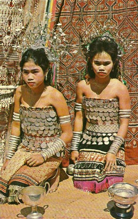 details about dayak girl photo costume jewels borneo dayak girls sarawak borneo malaysia ca 1950s