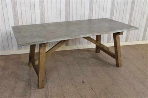 zinc kitchen table industrial look pine base