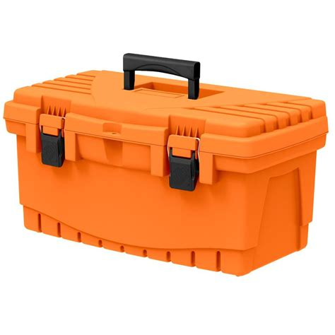 The Home Depot 19 in. Plastic Tool Box with Metal Latches and Removable Tool Tray 17331512   The