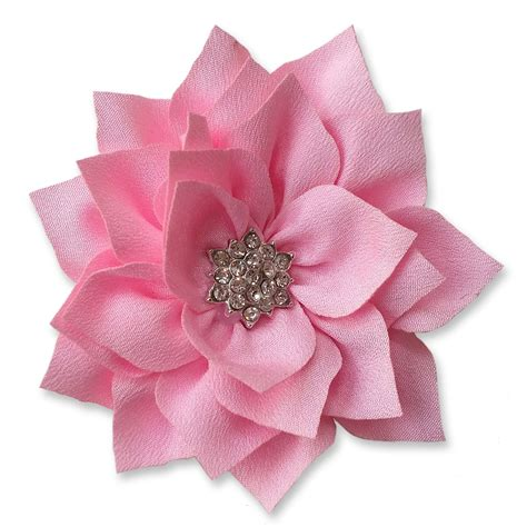 diamante applique 8cm diamante dahlia light pink fabric flower applique
