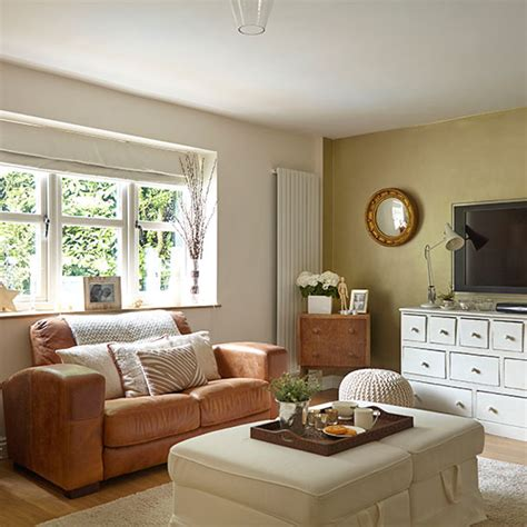 Neutral Living Room With White And Leather Furniture Neutral Living Room Furniture