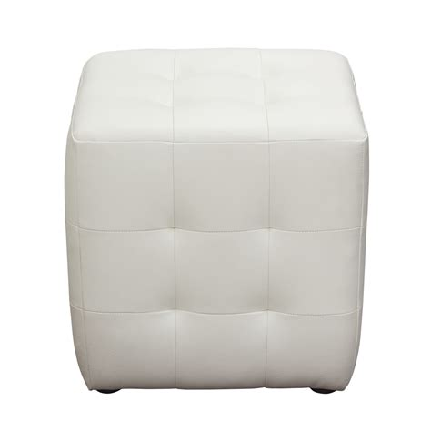 tufted cube ottoman bonded leather tufted cube accent ottoman white big s