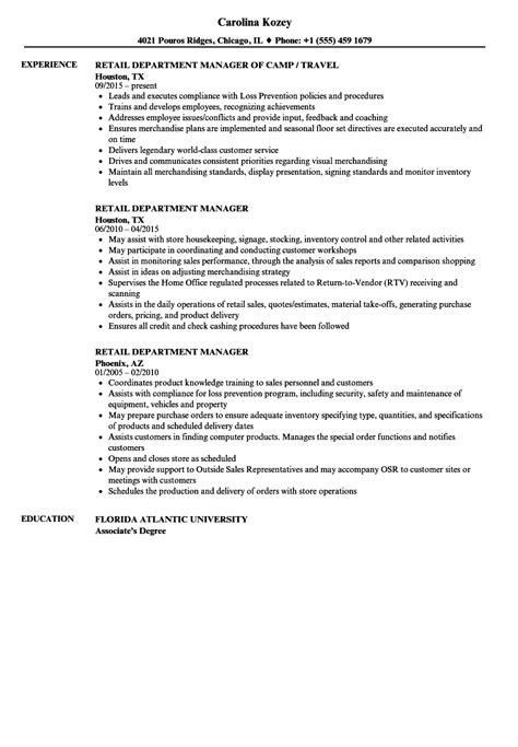 retail department manager resume sles velvet