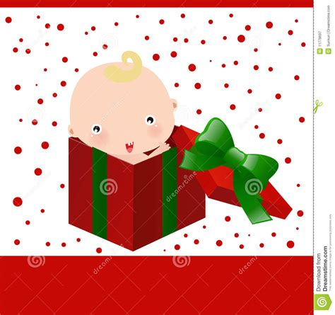 baby and christmas gift box stock vector image 11778697