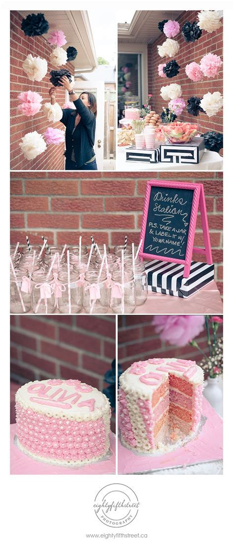 A pink, black and white themed bridal shower! @Jess