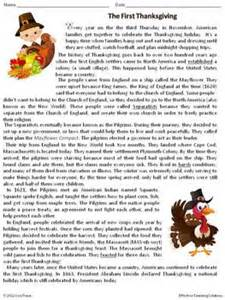 thanksgiving worksheets for 5th grade thanksgiving comprehension worksheets worksheet