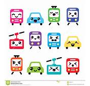 Kawaii Cute Icons  Car Bus Train Tram And Gondola