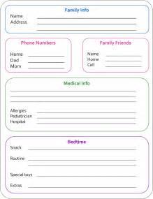 Nanny Information Sheet Template by Babysitting Nannyville