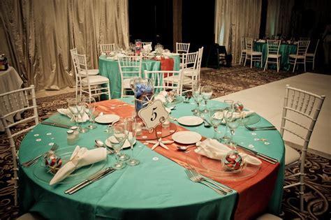 Beach Wedding Setup: aqua and coral color theme   Pattys