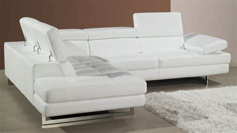 Modern Leather Corner Sofa Adjustable Headrests And