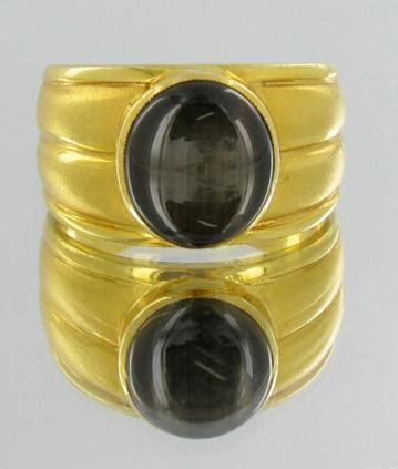 Black Sapphire 5 6ct 6ct mens black sapphire ring 22k solid yellow gold 10