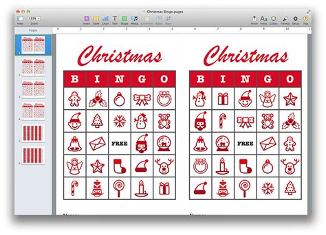 christmas templates for apple pages christmas bingo template pdf or pages mactemplates com