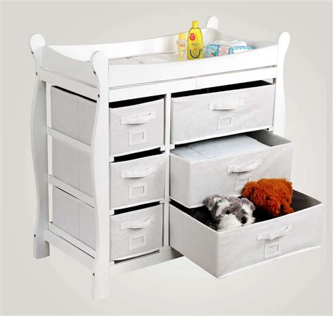 Badger Basket Baby Changing Table With Six Baskets Badger Basket White Sleigh Style Changing Table With Six Baskets Goedekers