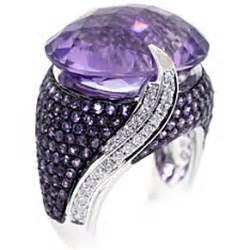 Cincin Black Gold 70 2270 Gram Purple Amethyst Gemstone Cocktail Ring 14k White Gold