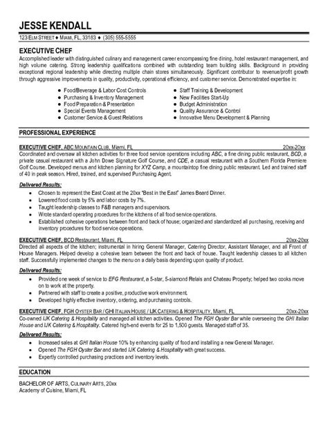 Corporate Executive Chef Sle Resume by Executive Chef Resume Sle Ilivearticles Info