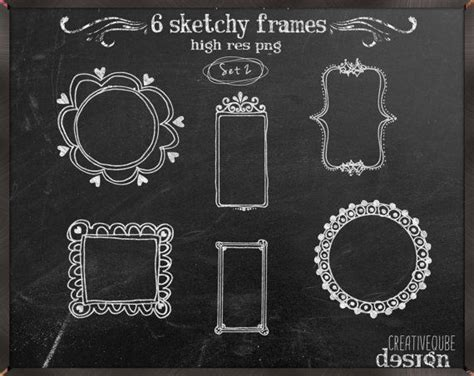 frames clipart chalkboard hand drawn frames pack for