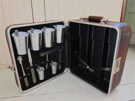 vintage cocktail set travel bar vintage cocktail set leather suitcase