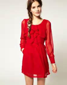 red dress fashion beautiful scenery photography
