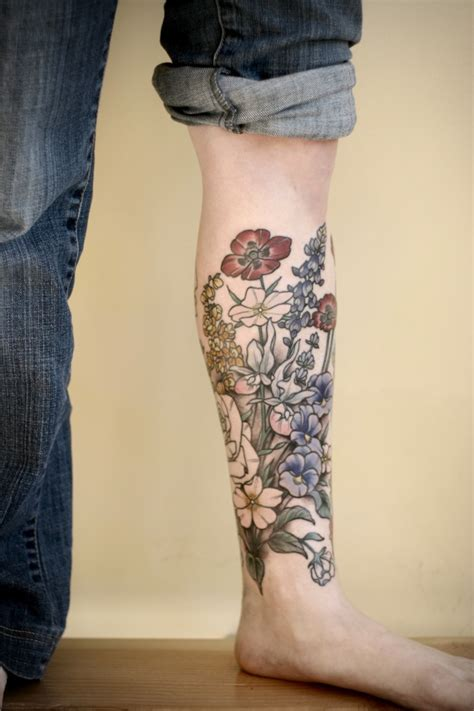 flower garden tattoos shin sleeve with garden of flowers pairodicetattoos