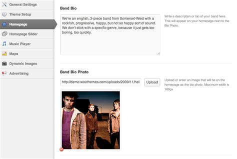 band bio template backstage woothemes documentation